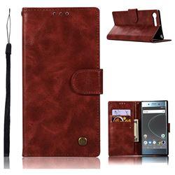 Luxury Retro Leather Wallet Case for Sony Xperia XZ Premium XZP - Wine Red