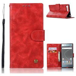 Luxury Retro Leather Wallet Case for Sony Xperia XZ Premium XZP - Red