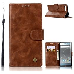 Luxury Retro Leather Wallet Case for Sony Xperia XZ Premium XZP - Brown