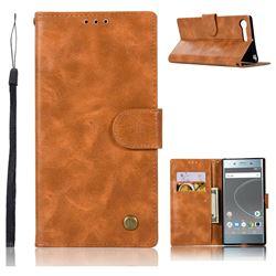 Luxury Retro Leather Wallet Case for Sony Xperia XZ Premium XZP - Golden