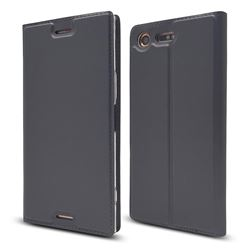 Ultra Slim Card Magnetic Automatic Suction Leather Wallet Case for Sony Xperia XZ Premium XZP - Star Grey