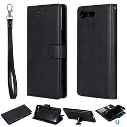 Retro Greek Detachable Magnetic PU Leather Wallet Phone Case for Sony Xperia XZ Premium XZP - Black