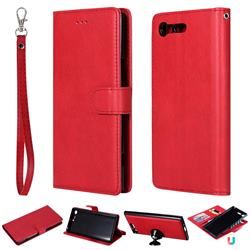 Retro Greek Detachable Magnetic PU Leather Wallet Phone Case for Sony Xperia XZ Premium XZP - Red