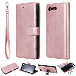 Retro Greek Detachable Magnetic PU Leather Wallet Phone Case for Sony Xperia XZ Premium XZP - Rose Gold