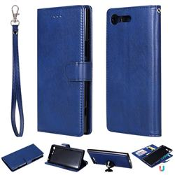 Retro Greek Detachable Magnetic PU Leather Wallet Phone Case for Sony Xperia XZ Premium XZP - Blue