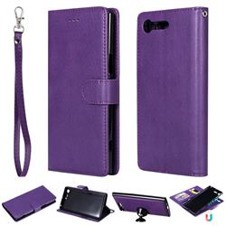 Retro Greek Detachable Magnetic PU Leather Wallet Phone Case for Sony Xperia XZ Premium XZP - Purple