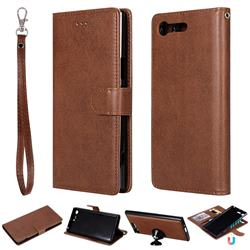 Retro Greek Detachable Magnetic PU Leather Wallet Phone Case for Sony Xperia XZ Premium XZP - Brown