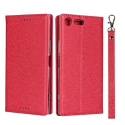 Ultra Slim Magnetic Automatic Suction Silk Lanyard Leather Flip Cover for Sony Xperia XZ Premium XZP - Red