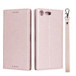 Ultra Slim Magnetic Automatic Suction Silk Lanyard Leather Flip Cover for Sony Xperia XZ Premium XZP - Rose Gold
