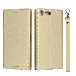 Ultra Slim Magnetic Automatic Suction Silk Lanyard Leather Flip Cover for Sony Xperia XZ Premium XZP - Golden