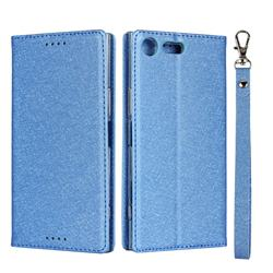 Ultra Slim Magnetic Automatic Suction Silk Lanyard Leather Flip Cover for Sony Xperia XZ Premium XZP - Sky Blue