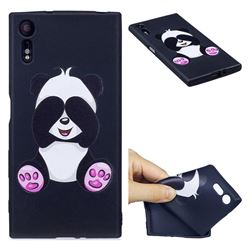 Lovely Panda 3D Embossed Relief Black Soft Back Cover for Sony Xperia XZs