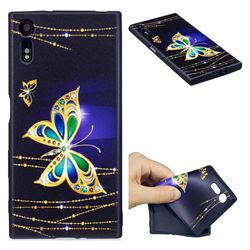 Golden Shining Butterfly 3D Embossed Relief Black Soft Back Cover for Sony Xperia XZs