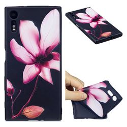Lotus Flower 3D Embossed Relief Black Soft Back Cover for Sony Xperia XZs