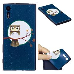 Moon and Owl 3D Embossed Relief Black Soft Back Cover for Sony Xperia XZs