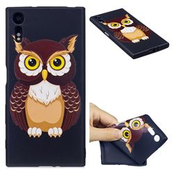 Big Owl 3D Embossed Relief Black Soft Back Cover for Sony Xperia XZs