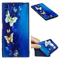 Golden Butterflies 3D Embossed Relief Black Soft Back Cover for Sony Xperia XZs