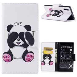 Lovely Panda Leather Wallet Case for Sony Xperia XZs
