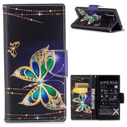 Golden Shining Butterfly Leather Wallet Case for Sony Xperia XZs