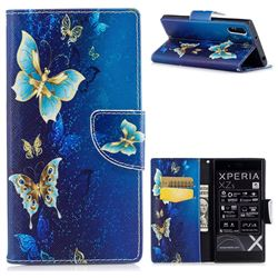Golden Butterflies Leather Wallet Case for Sony Xperia XZs