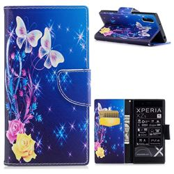 Yellow Flower Butterfly Leather Wallet Case for Sony Xperia XZs