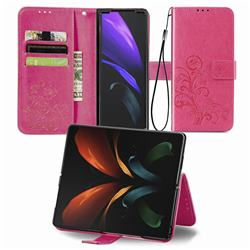 Embossing Imprint Four-Leaf Clover Leather Wallet Case for Samsung Galaxy Z Fold2 SM-F9160 - Rose Red