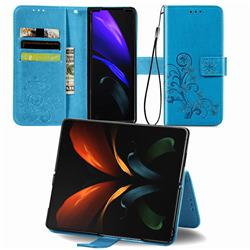 Embossing Imprint Four-Leaf Clover Leather Wallet Case for Samsung Galaxy Z Fold2 SM-F9160 - Blue