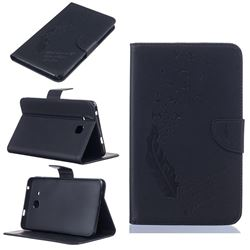 Intricate Embossing Feather Bird Leather Wallet Case for Samsung Galaxy Tab A 7.0 (2016) T280 T285 - Black