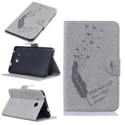 Intricate Embossing Feather Bird Leather Wallet Case for Samsung Galaxy Tab A 7.0 (2016) T280 T285 - Grey