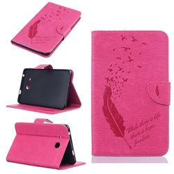 Intricate Embossing Feather Bird Leather Wallet Case for Samsung Galaxy Tab A 7.0 (2016) T280 T285 - Rose