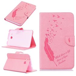 Intricate Embossing Feather Bird Leather Wallet Case for Samsung Galaxy Tab A 7.0 (2016) T280 T285 - Pink