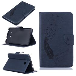 Intricate Embossing Feather Bird Leather Wallet Case for Samsung Galaxy Tab A 7.0 (2016) T280 T285 - Dark Blue
