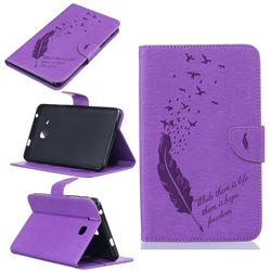 Intricate Embossing Feather Bird Leather Wallet Case for Samsung Galaxy Tab A 7.0 (2016) T280 T285 - Purple