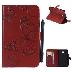 Embossing 3D Butterfly Leather Wallet Case for Samsung Galaxy Tab A 7.0 (2016) T280 T285 - Red