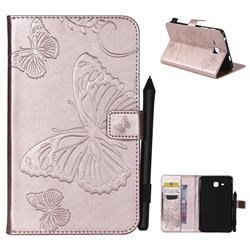 Embossing 3D Butterfly Leather Wallet Case for Samsung Galaxy Tab A 7.0 (2016) T280 T285 - Rose Gold