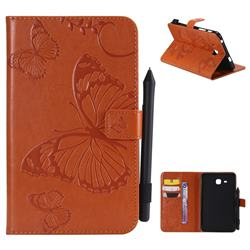 Embossing 3D Butterfly Leather Wallet Case for Samsung Galaxy Tab A 7.0 (2016) T280 T285 - Orange