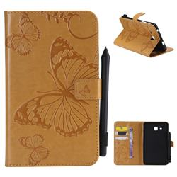 Embossing 3D Butterfly Leather Wallet Case for Samsung Galaxy Tab A 7.0 (2016) T280 T285 - Yellow