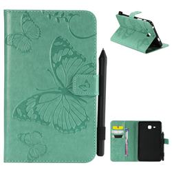 Embossing 3D Butterfly Leather Wallet Case for Samsung Galaxy Tab A 7.0 (2016) T280 T285 - Green