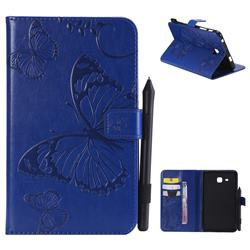 Embossing 3D Butterfly Leather Wallet Case for Samsung Galaxy Tab A 7.0 (2016) T280 T285 - Blue