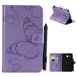 Embossing 3D Butterfly Leather Wallet Case for Samsung Galaxy Tab A 7.0 (2016) T280 T285 - Purple
