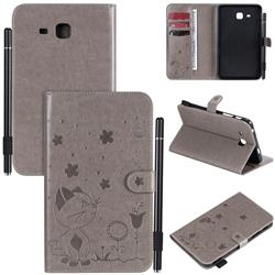 Embossing Bee and Cat Leather Flip Cover for Samsung Galaxy Tab A 7.0 (2016) T280 T285 - Gray
