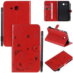 Embossing Bee and Cat Leather Flip Cover for Samsung Galaxy Tab A 7.0 (2016) T280 T285 - Red