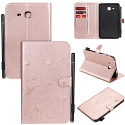 Embossing Bee and Cat Leather Flip Cover for Samsung Galaxy Tab A 7.0 (2016) T280 T285 - Rose Gold
