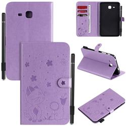 Embossing Bee and Cat Leather Flip Cover for Samsung Galaxy Tab A 7.0 (2016) T280 T285 - Purple