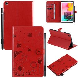 Embossing Bee and Cat Leather Flip Cover for Samsung Galaxy Tab A 8.0 (2019) T290 T295 - Red
