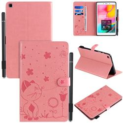 Embossing Bee and Cat Leather Flip Cover for Samsung Galaxy Tab A 8.0 (2019) T290 T295 - Pink