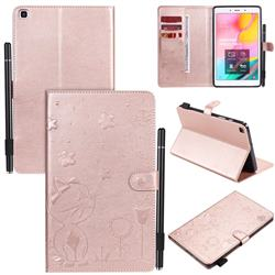 Embossing Bee and Cat Leather Flip Cover for Samsung Galaxy Tab A 8.0 (2019) T290 T295 - Rose Gold