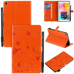 Embossing Bee and Cat Leather Flip Cover for Samsung Galaxy Tab A 8.0 (2019) T290 T295 - Orange