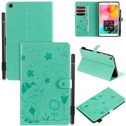 Embossing Bee and Cat Leather Flip Cover for Samsung Galaxy Tab A 8.0 (2019) T290 T295 - Green