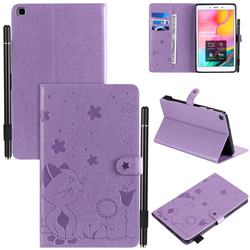 Embossing Bee and Cat Leather Flip Cover for Samsung Galaxy Tab A 8.0 (2019) T290 T295 - Purple
